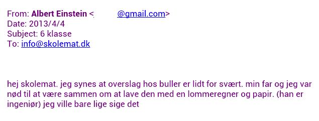 Skolemat email